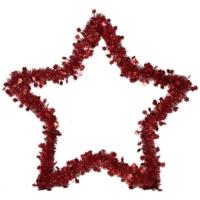 Pandoli Yıldız Simli Parlak Duvar Süsü 40 Cm Kırmızı