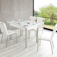 Evinizin Mobilyası Açılır Cam Mutfak Masası Masa Sandalye Latte Desenli(4 Sandalyeli)