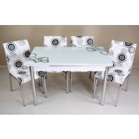 Evinizinmobilyasi İmalattan Satış Açılır Cam Mutfak Masası Masa Sandalye Elips Desenli(4 Sandalyeli)
