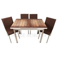 Evinizin Mobilyası Açılır Cam Mutfak Masası Masa Sandalye Düz Ahşap Desenli(4 Sandalyeli)