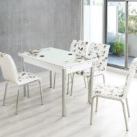 Evinizinmobilyasi İmalattan Satış Açılır Cam Mutfak Masası Masa Sandalye Kahve Çiçek Desenli(4 Sandalyeli)