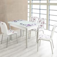 Evinizinmobilyasi İmalattan Satış Açılır Cam Mutfak Masası Masa Sandalye Lila Çiçek Desenli(4 Sandalyeli)