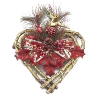 Kikajoy Kalp Şekilli Yaprak ve Geyik Dekorlu Kapı Süsü - 1 adet