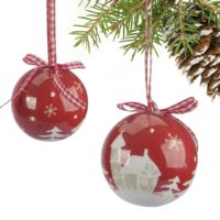 Kikajoy Kırmızı Çam Ağacı Desenli Ağaç Süsü - 6 adet