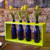 Çevre Dostu Dekoratif Sarı Standlı 4 lü Mavi Şişeli Vazo