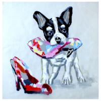 Sevimli Köpek 2 Yağlı Boya Tablo %100 El Yapımı