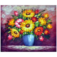 Vazodaki Çiçekler 6 Yağlı Boya Tablo %100 El Yapımı