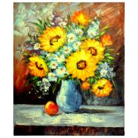 Vazodaki Çiçekler 9 Yağlı Boya Tablo %100 El Yapımı