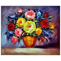 Vazodaki Çiçekler 4 Yağlı Boya Tablo %100 El Yapımı