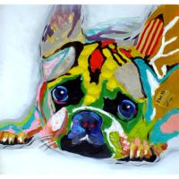 Sevimli Köpek 3 Yağlı Boya Tablo %100 El Yapımı