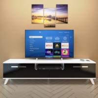 Eyibil Mobilya Güney 180 cm Gövde Beyaz Kapak Parlak Siyah Tv Sehpası Tv Ünitesi