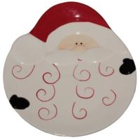 Noel Baba Desenli Kabartmalı Seramik Tabak
