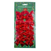 12 li Kırmızı Parlak Fiyonk Yılbaşı Süsü 5,5 cm