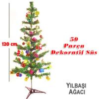 Kikajoy 120 cm Yılbaşı Ağacı Seti 50 Parça Süs