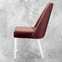 Hira Demonte Düz Beyaz Ayaklı K.Kahve Sandalye