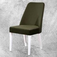 Hira Demonte Düz Beyaz Ayaklı Kavisli Sandalye
