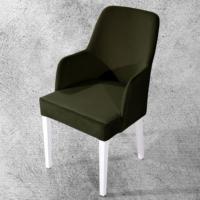 Hira Demonte Düz Beyaz Ayaklı Kollu Sandalye