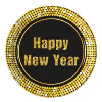 KullanAtMarket Happy New Year Kağıt Tabak 23Cm