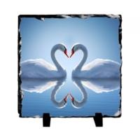 Fotografyabaski Romantik Kuğular - Kare Taş 15X15Cm