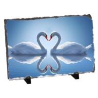 Fotografyabaski Romantik Kuğular Dikdörtgen Taş Baskı 15X20 Cm