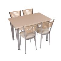 Osmanlı Mobilya Mutfak Masa Takımı Masa + 6 Sandalye Krem