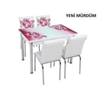 Osmanlı Mobilya Osmanlı Mutfak Masa Takımı Yeni Mürdüm Desen Masa + 4 Sandalye