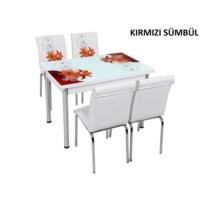 Osmanlı Mobilya Osmanlı Mutfak Masa Takımı Kırmızı Sümbül Desen Masa + 4 Sandalye