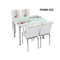 Osmanlı Mobilya Osmanlı Mutfak Masa Takımı Pembe Gül Desen Masa + 4 Sandalye