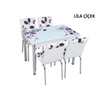 Osmanlı Mobilya Osmanlı Mutfak Masa Takımı Lila Çiçek Desen Masa + 4 Sandalye