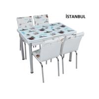 Osmanlı Mobilya Osmanlı Mutfak Masa Takımı İstanbul Desen Masa + 4 Sandalye