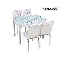 Osmanlı Mobilya Osmanlı Mutfak Masa Takımı Sarmaşık Desen Masa + 6 Sandalye