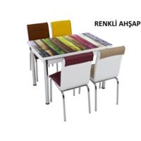 Osmanlı Mobilya Osmanlı Mutfak Masa Takımı Renkli Ahşap Desen Masa + 6 Sandalye