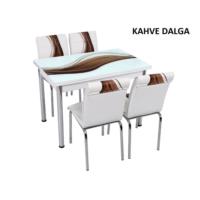 Osmanlı Mobilya Osmanlı Mutfak Masa Takımı Kahve Dalga Desen Masa + 6 Sandalye