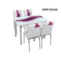 Osmanlı Mobilya Osmanlı Mutfak Masa Takımı Mor Dalga Desen Masa + 6 Sandalye