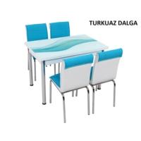 Osmanlı Mobilya Osmanlı Mutfak Masa Takımı Turkuaz Dalga Desen Masa + 6 Sandalye
