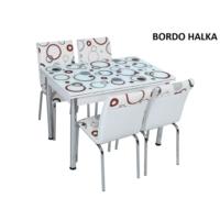 Osmanlı Mobilya Osmanlı Mutfak Masa Takımı Bordo Halka Desen Masa + 6 Sandalye