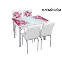 Osmanlı Mobilya Osmanlı Mutfak Masa Takımı Yeni Mürdüm Desen Masa + 6 Sandalye