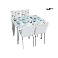 Osmanlı Mobilya Osmanlı Mutfak Masa Takımı Latte Desen Masa + 6 Sandalye