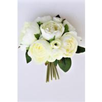 Yapay Çiçek Deposu Yapay Çiçek Şakayık Gül Buketi Beyaz