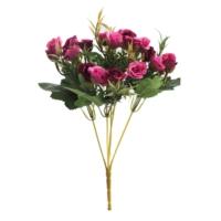 Yapay Çiçek Deposu Ucuz yapay çiçek pastel tomurcuk gül demeti (Fusya)