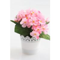 Yapay Çiçek Deposu Dantelli Plastik Saksıda Menekşe Çiçeği Pembe