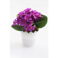 Yapay Çiçek Deposu Dantelli Plastik Saksıda Menekşe Çiçeği Mor