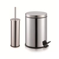 PROGEN Pedallı 5 Litre Çöp Kovası + Klozet Fırçası Banyo Seti