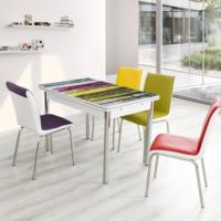 Evinizin Mobilyası Açılır Cam Mutfak Masası Masa Sandalye Renkli Ahşap Desenli(6 Sandalyeli)