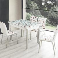 Evinizin Mobilyası Açılır Cam Mutfak Masası Masa Sandalye Bordo Halha Desenli(6 Sandalyeli)
