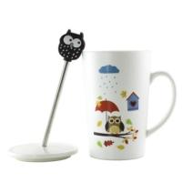 Helen'S Gift Hüzünlü Baykuş Porselen Kapaklı Kupa Bardak