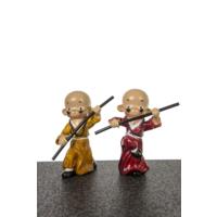 Dekoratif 2'Lİ Samuray Biblo - Sarı Kırmızı 11X19