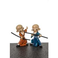 Dekoratif 2'Lİ Samuray Biblo - TURUNCU MAVİ 11X19