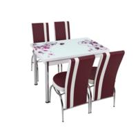 Osmanlı Mutfak Masa Takımı Masa + 4 Lale Sandalye Mor Çiçek
