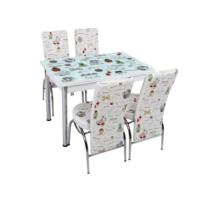 Osmanlı Mutfak Masa Takımı Masa + 4 Lale Sandalye Latte